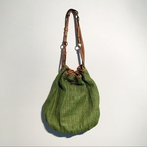 Fossil Green straw and leather tote purse